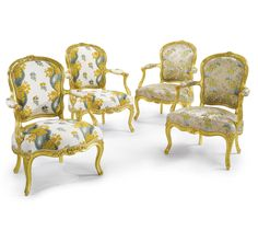 c1750 A SET OF FOUR LOUIS XV CARVED GILTWOOD FAUTEUILS circa 1750, two stamped I. Pothier Estimate  25,000 — 35,000  USD  LOT SOLD. 53,125 USD (Hammer Price with Buyer's Premium)