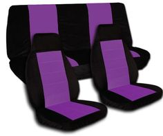 Complete set of black and purple seat covers, steering wheel cover included. Universal set. Will not fit if you have side airbags Will fit most cars with a universal front seat and rear bench. Will not fit if you have side airbags. Hooks and instrutions are included to help you install your seat covers. Protect your car against daily wear and tear.. Seat covers are made out of 85% Cotton and 15% P... #Designcovers #Automotive_Parts_and_Accessories