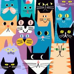 Overlapping Cats by Rob Hodgson♥♥ I Love Cats, Crazy Cats, Cool Cats, The Zoo, Illustration Art, Illustrations, Cat Character, Cat Template, Cat Pattern