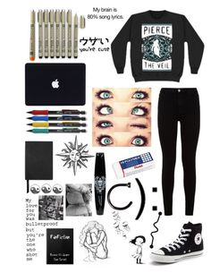 """I'm lowkey sad af..."" by emo-kyleigh ❤ liked on Polyvore featuring Smythson, 7 For All Mankind, Converse and Pentel"