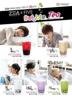ZE:A5 takes on five different flavors for 'ZE:A Bubble Tea'