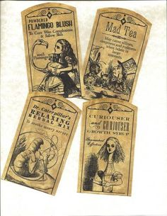 LOT OF~12 Vintage look LABELS~Alice in Wonderland~primitive labels ~ | eBay