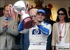 Juan Pablo Montoya celebrates his 2003 win in F1 Monaco, winner also in Indianapolis 500 in Nascar, the two most important racings in the world!