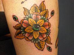 Traditional flower tattoos