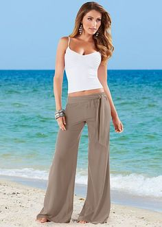 Cami, easy tie front pants beige women clothing outfit fashion style apparel beach white top