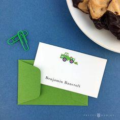 Personalized Preppy Green Bulldozer / Tractor  Gift Enclosure