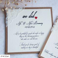 Papiernictvo - Rustikálne svadobné oznámenie - ďakovacia karta po svadbe - čipka - 4701998_
