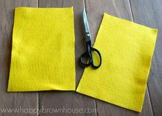 Yellow felt cut in half