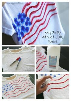 of July tie dye t-shirt in 5 minutes THIS IS SO EASY! DIY of July tie dye t-shirt in 5 minutes. Easy patriotic craft for kids!THIS IS SO EASY! DIY of July tie dye t-shirt in 5 minutes. Easy patriotic craft for kids! Sharpie Shirts, Sharpie Tie Dye, Sharpie Crafts, Sharpie Markers, Tie Dye With Sharpies, Sharpie Art, Sharpie Projects, Sharpie Doodles, Art Projects