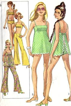 Bathing Suits and Hip Hugger Pants Vintage Sewing Pattern, Simplicity Bust ~ I made two piece suit out of British styled fabric. Great bell bottoms pattern too! Moda Retro, Moda Vintage, Vintage 70s, Vintage Style, Vintage Outfits, Vintage Fashion, Dress Vintage, Vintage Sewing Patterns, Clothing Patterns