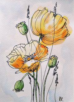 Poppies Painting Original Art Flowers Watercolor Yellow | Etsy