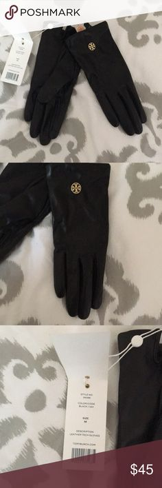 Tory Butch gloves-new with tags! TORY BURCH New with tags-never worn-black leather gloves with gold emblem Tory Burch Accessories Gloves & Mittens