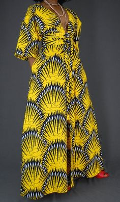 Beautiful women maxi dress with Kimono style sleeves. unlined, 2 front pleat at waist of skirt and 2 at the bodice 4 front bodice pleats Peekaboo center slit Long African Dresses, African Print Dresses, African Print Fashion, African Fashion Dresses, Ankara Maxi Dress, Yellow Maxi Dress, Chitenge Dresses, Kimono Style, African Attire