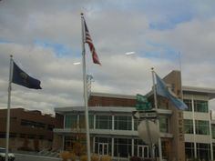 PT 689 NOV 13 FLAGS IN FRONT OF THE NAMPA IDAHO POLICE STATION.