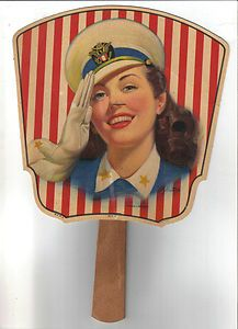 """""""Miss Liberty"""" - Modern Dairy salesman sample of advertising hand fan - great graphic from 1940s!"""