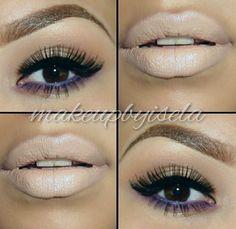 Purple eyeliner on lower eyelid n nude lip!