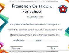 grade promotion certificate template