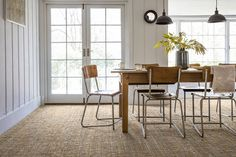 dining room with natural carpet   The Best Place To Buy Designer Carpets At Budget Prices - WeLoveHome - Home Jute Carpet, Diy Carpet, Carpet Ideas, Wall Carpet, Textured Carpet, Patterned Carpet, Carpet Manufacturers, Alternative Flooring, House