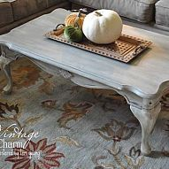 Weathered Grey Coffee Table From shiny and scratched cherry wood to that French Shabby Chic look- using both La Craie Paints in Magnolia a...