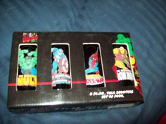 Marvel 2oz Shooter Glasses set of 4 Hulk,Iron Man, Captain America, Spider-Man