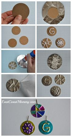 diy art What a fantastic and simple art project for kids. These pendants would make wonderful DIY gifts for kids to make for Mothers Day too! Easy Art Projects, Projects For Kids, Diy And Crafts, Crafts For Kids, Arts And Crafts, Decor Crafts, Family Art Projects, Recycled Art Projects, Sharpie Artwork