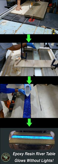 to Make an Epoxy Resin River Table Learn how to make an epoxy resin river table that GLOWS in the dark without lights.Learn how to make an epoxy resin river table that GLOWS in the dark without lights. Resin Table Top, Wood Resin Table, Resin In Wood, Resin Crafts, Wood Crafts, Woodworking Plans, Woodworking Projects, Woodworking Furniture, Glow Table