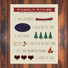 Family Rules Print. Baby Boy and Baby Girl by GoingUnderground, $20.00