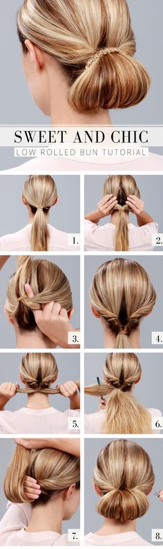 Splendid Sweet and Chic Everyday Hairstyles: Low Rolled Bun Tutorial The post Sweet and Chic Everyday Hairstyles: Low Rolled Bun Tutorial… appeared first on Hair and Beauty . Fast Hairstyles, Chic Hairstyles, Wedding Hairstyles, Summer Hairstyles, Daily Hairstyles, Simple Hairstyles, Hairstyles 2018, Party Hairstyles For Long Hair, Running Late Hairstyles