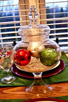 Ornaments in an Apothecary Jar Centerpiece