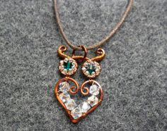 HENNA OWL Copper pendant  combined  Austrian by MakeMyStyle, $17.00