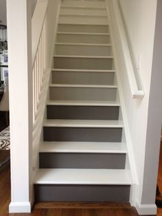 Gray ombre stairs heading up. I love it.