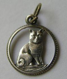 Antique German Art Nouveau cat charm