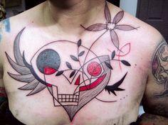 yann black avant garde tattoo abstract skull wings flowers modern freehand design