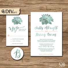 PRINTABLE DIY Wedding Invitation Suite, Response Card, Initial - garden wedding, watercolor succulent, green and coral or any colors by DIVart