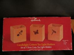 hallmark terra cotta critters tea light holders new in box % of sale supports just food NYC http://stores.ebay.com/lastchancewhitakersretrovintage