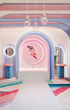 A dressing room design that looks straight out of a very retro-futuristic videogame! This is how this interior design project would be described. Architecture Restaurant, Interior Architecture, Interior And Exterior, Decoration Evenementielle, Decorations, Futuristic Interior, 1980s Interior, Pastel Interior, Deco Retro
