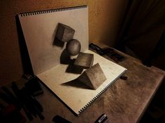 By adjusting and playing with lights and shadow, Japanese artist Nagai Hideyuki has created a stunning series of 3D optical illusions artwork in his sketchbook.     Using nothing more than a simple pencil, his illustrations seem to 'leap off' the page when positioned at specific angles.