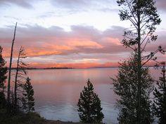 Sunset over Yellowstone Lake, Yellowstone National Park.