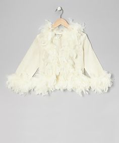 Take a look at this Ivory Feather-Trim Linen Jacket - Girls by Elena Collection on #zulily today!