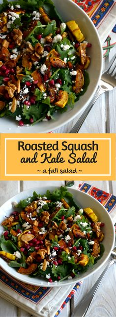 Roasted Squash and Kale Salad - Fall Salad Recipe - Thanksgiving Side…