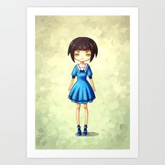 Girl in Blue Art Print by Freeminds - $18.72