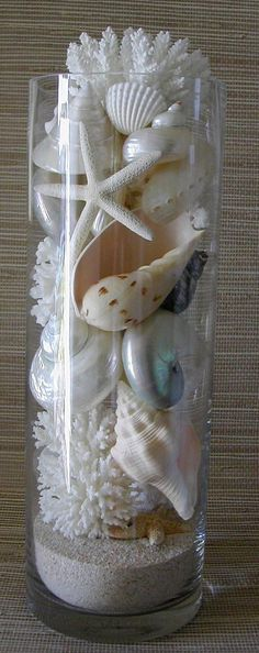 Beach Decor - Seashells, Coral and Starfish in Glass Cylinders New Sizes! and - For the card table – Beach Decor Seashells Coral and Starfish in by SeashellCollection Information - Beach Theme Bathroom, Beach Bathrooms, Bedroom Beach, Beach Inspired Bedroom, Mermaid Bathroom Decor, Mermaid Bedroom, Nautical Bathrooms, Guest Bathrooms, Small Bathrooms
