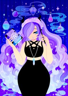 Beautiful art, I love it 😁 Witchy Wallpaper, Wallpaper Fofos, Coral Art, Under Your Spell, Witch Art, Magic Art, Galaxy Art, Cute Drawings, Alien Drawings