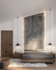 60 Ideas For Bedroom Interior Design Rustic Modern Master Bedroom, Modern Bedroom Design, Master Bedroom Design, Home Decor Bedroom, Bedroom Ideas, Modern Bedrooms, Bedroom Ceiling, Bedroom Bed, Modern Bedroom Lighting