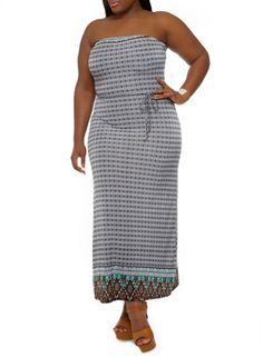 Plus Size Strapless Maxi Dress with Boho Print and Tie Waist