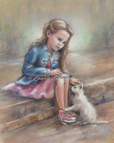 """Girls Wall art print, kitten and girl, pet rescue, Children's Art,   """"Compassion"""" print and canvas of original painting by Laurie Shanholtzer ~ We have found each other, this little lost kitten and I. My new companion and friend~"""