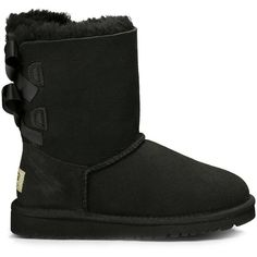 Ugg Toddlers Bailey Bow Suede Bow Boot ($120) ❤ liked on Polyvore featuring shoes, boots, black, bootie boots, black bootie boots, short suede boots, suede ankle boots and black shoes