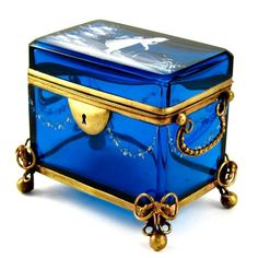Antique Mary Gregory Blue Glass Hand Painted White Enamel Jewelry Box from theantiqueboutique on Ruby Lane