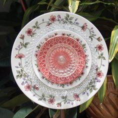 pink roses Federal Petal Vintage Repurpose Glass Plate Flower gold shabby chic garden art via Etsy