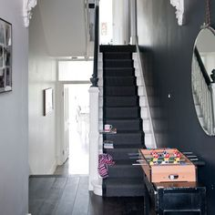 The Best Paint Colors: 10 Farrow & Ball Not-Boring Neutrals - stairs Black And White Hallway, White Stairs, Black White, Dark Grey Hallway, Black Painted Stairs, Farrow And Ball Paint, Farrow Ball, Dark Grey Carpet, Victorian Hallway